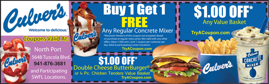 Local Deals Coupons Culvers Coupon North Port Fort Myers Cape Coral Port Charlotte Punta Gorda coupon book